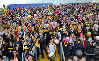 26-10-2014: Austin Stacks supporters cheering on their side against  Mid Kerry  in the Kerry senior football County Championship final at Austin Stack Park, Tralee on Sunday.  Picture: Eamonn Keogh ( MacMonagle, Killarney)