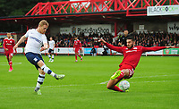 Preston North End's Daryl Horgan shoots despite the attentions of Accrington Stanley's Tom Dallison<br /> <br /> Photographer Kevin Barnes/CameraSport<br /> <br /> The Carabao Cup - Accrington Stanley v Preston North End - Tuesday 8th August 2017 - Crown Ground - Accrington<br />  <br /> World Copyright &copy; 2017 CameraSport. All rights reserved. 43 Linden Ave. Countesthorpe. Leicester. England. LE8 5PG - Tel: +44 (0) 116 277 4147 - admin@camerasport.com - www.camerasport.com