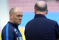 Preston North End manager Alex Neil is in deep conversation with Wigan Athletic manager Paul Cook before kick off<br /> <br /> Photographer David Shipman/CameraSport<br /> <br /> The EFL Sky Bet Championship - Wigan Athletic v Preston North End - Monday 22nd April 2019 - DW Stadium - Wigan<br /> <br /> World Copyright © 2019 CameraSport. All rights reserved. 43 Linden Ave. Countesthorpe. Leicester. England. LE8 5PG - Tel: +44 (0) 116 277 4147 - admin@camerasport.com - www.camerasport.com