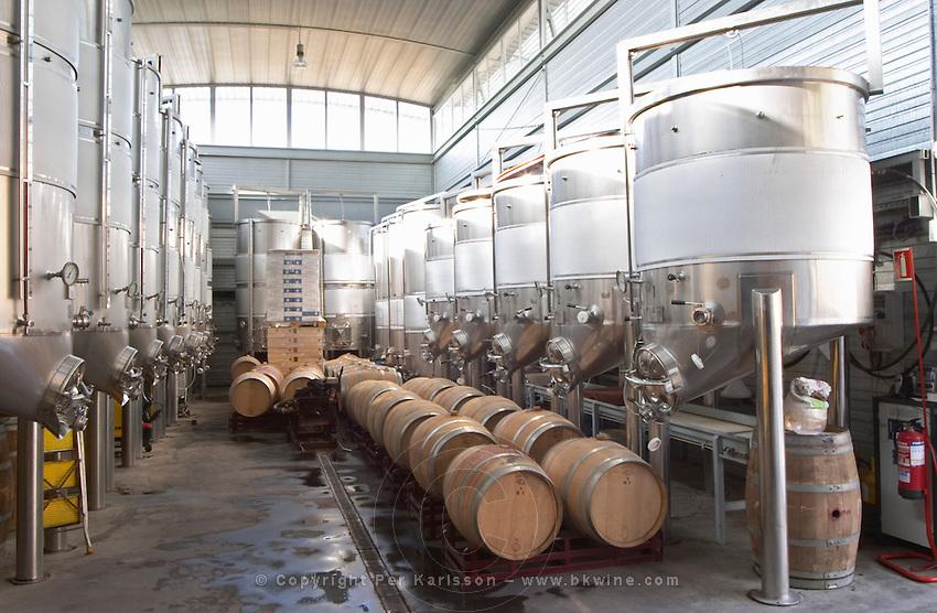 Oak barrel aging and fermentation cellar. Fermentation tanks. Mas Igneus, Gratallops, Priorato, Catalonia, Spain.