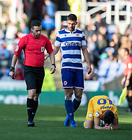 Referee Dean Whitestone (left) checks that Preston North End's Josh Harrop is OK <br /> <br /> Photographer David Horton/CameraSport<br /> <br /> The EFL Sky Bet Championship - Reading v Preston North End - Saturday 19th October 2019 - Madejski Stadium - Reading<br /> <br /> World Copyright © 2019 CameraSport. All rights reserved. 43 Linden Ave. Countesthorpe. Leicester. England. LE8 5PG - Tel: +44 (0) 116 277 4147 - admin@camerasport.com - www.camerasport.com
