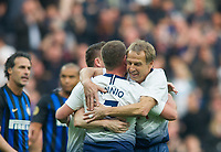 Spurs Legends Jurgen Klinsmann congratulated Spurs Legends Teemu Tainio after scoring first goal during the Tottenham Hotspur Legends v Inter Milan Legends during the 2nd test event at Tottenham Hotspur Stadium, High Road, London, England on 30 March 2019. Photo by Andrew Aleksiejczuk / PRiME Media Images.