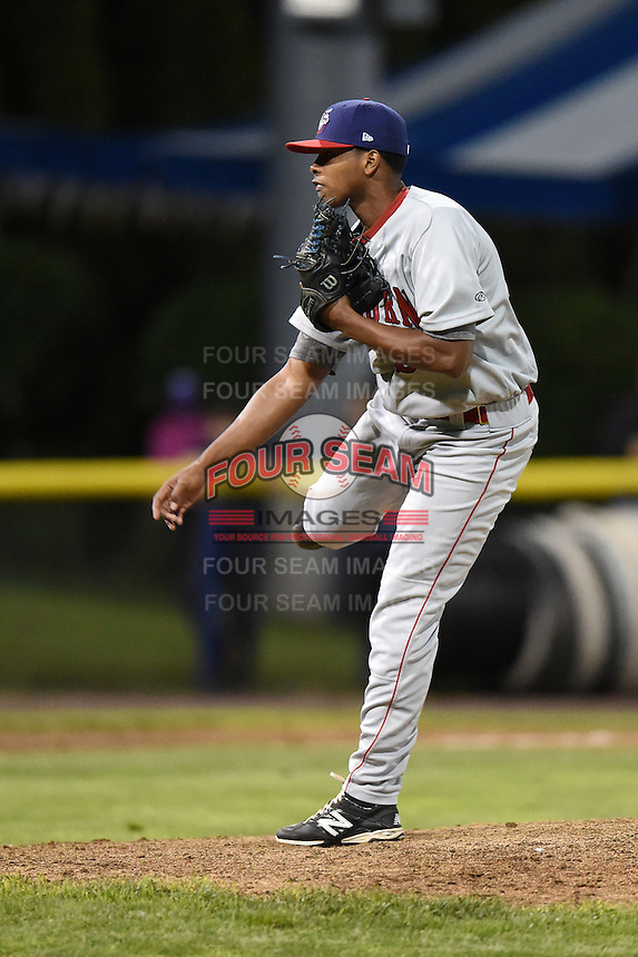 Auburn Doubledays pitcher Deibi Yrizarri (34) follows through on a pitch during a game against the Batavia Muckdogs on June 14, 2014 at Dwyer Stadium in Batavia, New York.  Batavia defeated Auburn 7-2.  (Mike Janes/Four Seam Images)