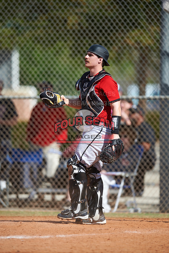 Edgewood College Eagles Nick Cheaney (27) during a game against the Illinois College Blueboys on March 14, 2017 at Terry Park in Fort Myers, Florida.  Edgewood defeated Illinois College 11-2.  (Mike Janes/Four Seam Images)