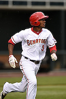 Harrisburg Senators outfielder Michael A. Taylor (3) during a game against the New Britain Rock Cats on April 28, 2014 at Metro Bank Park in Harrisburg, Pennsylvania.  Harrisburg defeated New Britain 9-0.  (Mike Janes/Four Seam Images)
