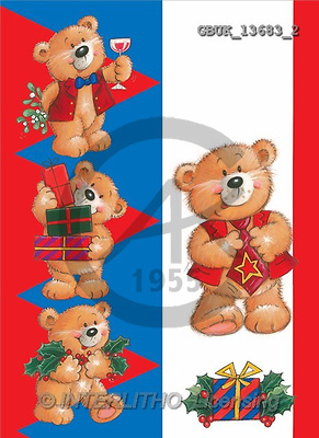 Stephen, CHRISTMAS ANIMALS, paintings, bears, gifts(GBUK13683/2,#XA#) Weihnachten, Navidad, illustrations, pinturas