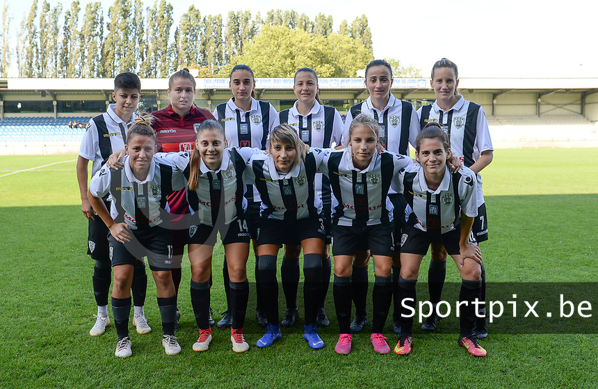 20190810 - DENDERLEEUW, BELGIUM : PAOK's players with Anthi Papakonstantinou (1) , Miljana Smiljkovic (3) ,  Eleni Kakambouki (7) , Natalia Chatzigiannidou (8) , Grigoria Pouliou (9) , Thomai Vardali (10) , Eirini Nefrou (12) , Chara Dimitriou (13) , Dimitra Karapetsa (14) ,  Maria Mitkou (17) and Anastasia Gkatsou (18) pictured posing for the teampicture during the female soccer game between the Greek PAOK Thessaloniki Ladies FC and the Northern Irish Linfield ladies FC , the second game for both teams in the Uefa Womens Champions League Qualifying round in group 8 , Wednesday 7 th August 2019 at the Van Roy Stadium in Denderleeuw  , Belgium  .  PHOTO SPORTPIX.BE | DAVID CATRY