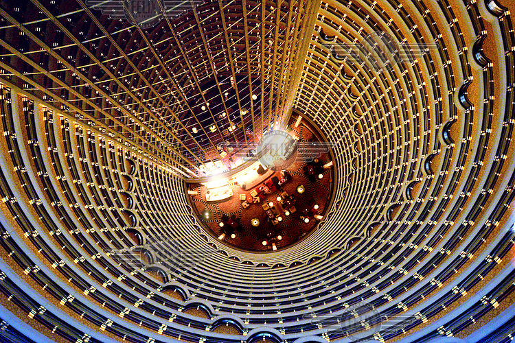 The Atrium, part of the Grand Hyatt Hotel. The highest hotel in the world, it is situated inside the Jin Mao Tower.