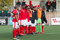 The Harlow Town players observe two minutes silence before kick off during Harlow Town vs Dulwich Hamlet, Buildbase FA Trophy Football at The Harlow Arena on 11th November 2017