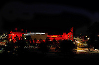 NWA Democrat-Gazette/ANDY SHUPE<br /> A red glow from the outdoor screen fills Razorback Stadium Friday, Sept. 4, 2015, in Fayetteville on the night before the University of Arkansas' season-opening football game with the University of Texas at El Paso. Kickoff is set for 2:30 p.m. The stadium 'glowing' has become a new tradition at the university.