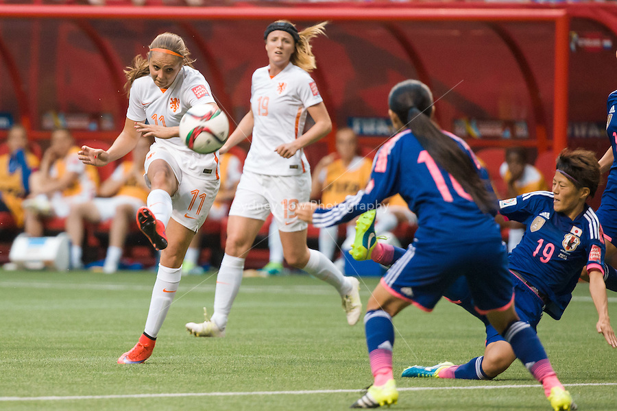 June 23, 2015: Lieke MARTENS of Netherlands kicks for goal during a round of 16 match between Japan and Netherlands at the FIFA Women's World Cup Canada 2015 at BC Place Stadium on 23 June 2015 in Vancouver, Canada. Japan won 2-1. Sydney Low/AsteriskImages.com