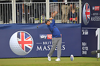Alexander Levy (FRA) on the 1st tee during Round 3 of the Sky Sports British Masters at Walton Heath Golf Club in Tadworth, Surrey, England on Saturday 13th Oct 2018.<br /> Picture:  Thos Caffrey | Golffile