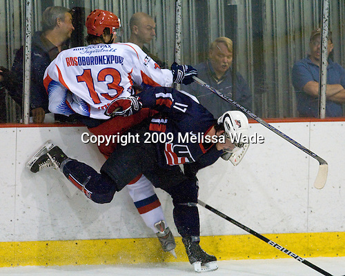 Ion-Georgy Kostev (Russia - 13), Danny Kristo (US - 17) - Team USA defeated Team Russia 8-1 in their first game during the 2009 USA Hockey National Junior Evaluation Camp on Tuesday, August 11, 2009, in the USA Rink (NHL-sized) at Lake Placid, New York.