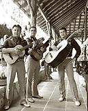 MEXICO, Maya Riviera, Mariachi band portrait (B&W)