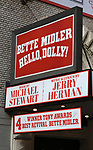 Tony Award flare at the Bette Midler 'Hello, Dolly' Marquee at The Shubert Theatre on June 13, 2017 in New York City.