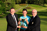 James McLoughlin (Captain Portumna) and Michael Heeney (Chairman Connacht Golf) present the cup to Peter McKeever (Castle) winner of the Connacht Stroke Play Championship 2019 at Portumna Golf Club, Portumna, Co. Galway, Ireland. 09/06/19<br /> <br /> Picture: Thos Caffrey / Golffile<br /> <br /> All photos usage must carry mandatory copyright credit (© Golffile | Thos Caffrey)