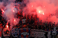 Calcio, Champions League, Gruppo E: Roma vs CSKA Mosca. Roma, stadio Olimpico, 17 settembre 2014.<br /> CSKA Moskva fans light flares during the Group E Champions League football match between AS Roma and CSKA Moskva at Rome's Olympic stadium, 17 September 2014.<br /> UPDATE IMAGES PRESS/Riccardo De Luca
