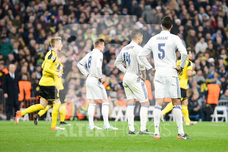 Real Madrid's Toni Kroos, Carlos Henrique Casemiro and Raphael Varane during the UEFA Champions League match between Real Madrid and Borussia Dortmund at Santiago Bernabeu Stadium in Madrid, Spain. December 07, 2016. (ALTERPHOTOS/BorjaB.Hojas)