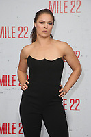 LOS ANGELES, CA - AUGUST 9: Ronda Rousey at the Mile 22 premiere at The Regency Village Theatre in Los Angeles, California on August 9, 2018. <br /> CAP/MPIFS<br /> &copy;MPIFS/Capital Pictures