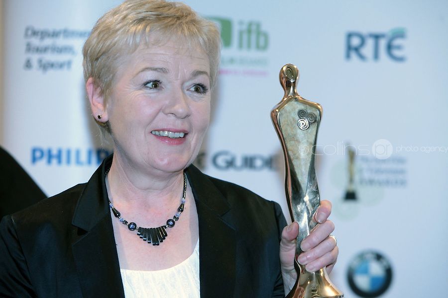 12/2/11 Ruth McCabe, Best Actress in a supporting role for Single Handed at the 8th Irish Film and Television Awards at the Convention centre in Dublin. Picture:Arthur Carron/Collins