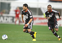 Cristian Castillo #12 and Rodney Wallace #22 of D.C. United during an MLS match against the New England Revolution on April 3 2010, at RFK Stadium in Washington D.C.