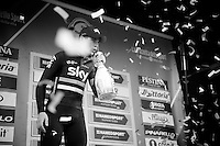 runner-up Ben Swift (GBR/SKY) on the podium of the 107th Milano-Sanremo (2016)
