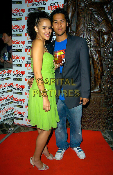 NATHALIE EMMANUEL & GUEST.Inside Soap Awards, Gilgamesh, Camden, London, England..September 24th, 2007.full length green dress jeans denim grey gray suit jacket .CAP/CAN.©Can Nguyen/Capital Pictures