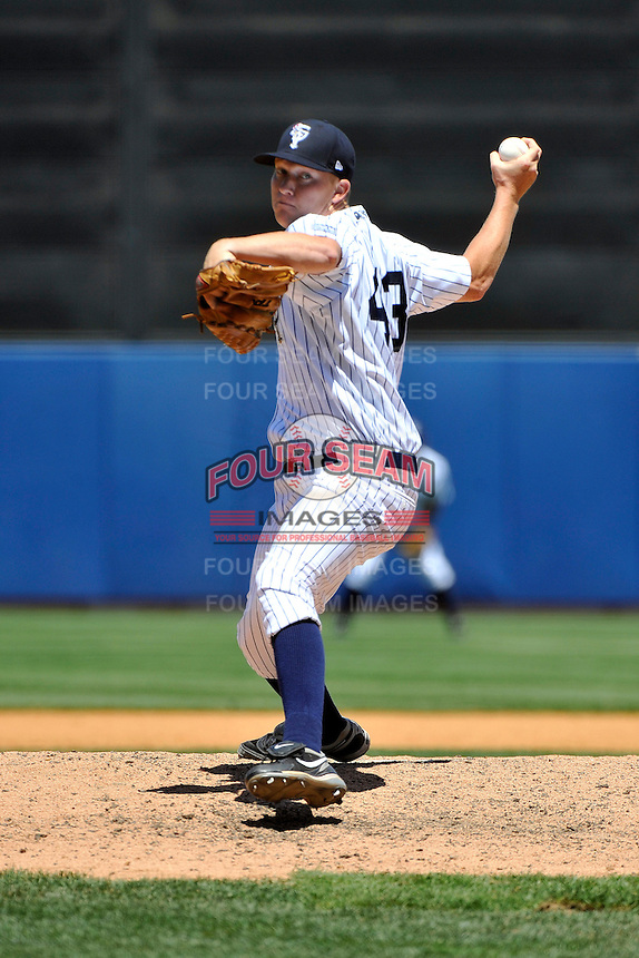 Staten Island Yankees pitcher Phillip Wetherell #43 during a game against the State College Spikes at Richmond County Bank Ballpark at St. George on July 14, 2011 in Staten Island, NY.  Staten Island defeated State College 6-4.  Tomasso DeRosa/Four Seam Images