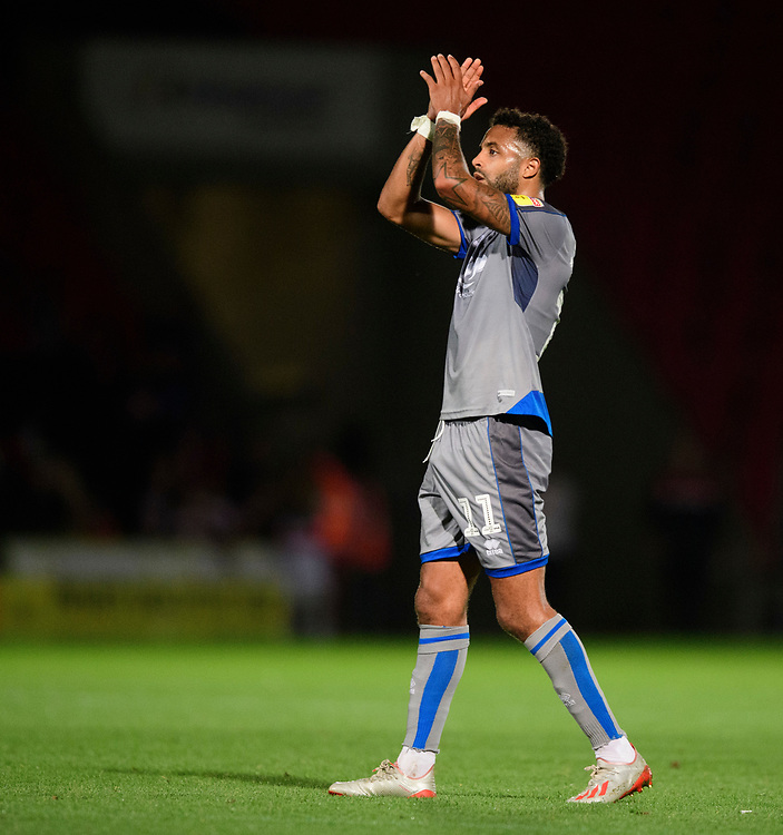 Lincoln City's Bruno Andrade applauds the fans at the final whistle<br /> <br /> Photographer Chris Vaughan/CameraSport<br /> <br /> EFL Leasing.com Trophy - Northern Section - Group H - Doncaster Rovers v Lincoln City - Tuesday 3rd September 2019 - Keepmoat Stadium - Doncaster<br />  <br /> World Copyright © 2018 CameraSport. All rights reserved. 43 Linden Ave. Countesthorpe. Leicester. England. LE8 5PG - Tel: +44 (0) 116 277 4147 - admin@camerasport.com - www.camerasport.com