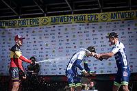 champagne shower podium:<br /> 1st place: Aimé De Gendt (BEL/Wanty Gobert)<br /> 2nd place: Belgian Champion Tim Merlier (BEL/Corendon Circus)<br /> 3th place: Timothy Dupont (BEL/Wanty Gobert)<br /> <br /> <br /> Antwerp Port Epic 2019 <br /> One Day Race: Antwerp > Antwerp 187km<br /> <br /> ©kramon