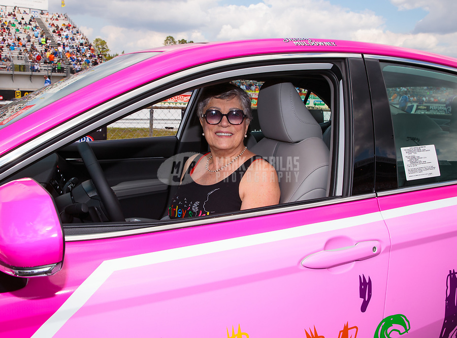 """Mar 15, 2019; Gainesville, FL, USA; NHRA driver Shirley Muldowney during the Toyota """"Unfinished Business"""" legends race at qualifying for the Gatornationals at Gainesville Raceway. Mandatory Credit: Mark J. Rebilas-USA TODAY Sports"""