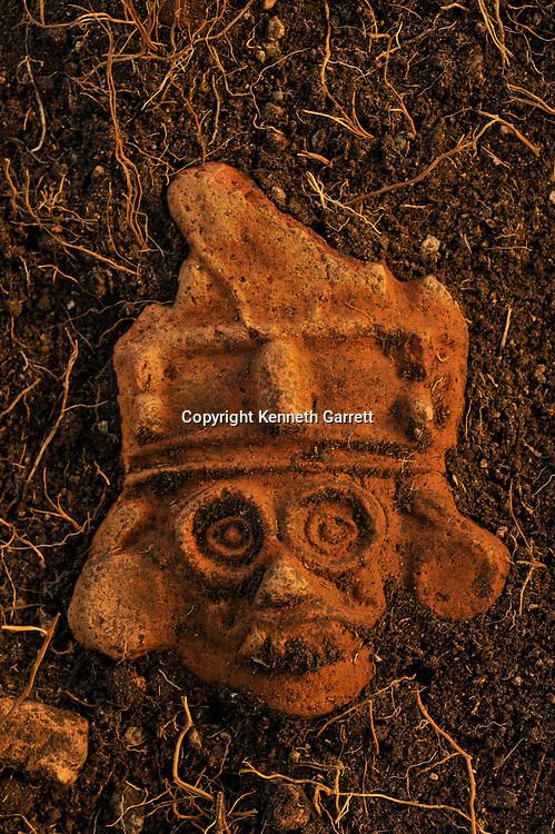 Greatest Aztecs; MM7677; Mexico City; Mexico; Aztec; Monte Tlaloc; Tlaloc Temple; Victor Arribalzaga; Aztec figurine, Tlaloc, rain god
