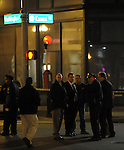 (Boston Ma 050313) Boston Police investigate a stabbing at the corner of Waahington and Essex street in downtown Boston Friday evening. (Jim Michaud Photo? Fro Saturday