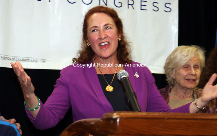 WATERBURY CT. 08 November 2016-110816SV13-Rep. Elizabeth H. Esty, D-5th District gives her victory speech in Waterbury Tuesday.<br /> Steven Valenti Republican-American