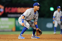 Third baseman Mauricio Ramos (3) of the Lexington Legends in a game against the Greenville Drive on Sunday, August 31, 2014, at Fluor Field at the West End in Greenville, South Carolina. Greenville won, 3-2. (Tom Priddy/Four Seam Images)