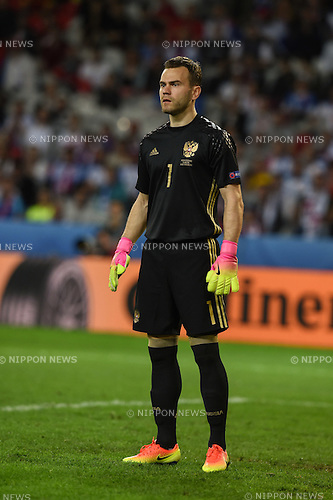 Igor Akinfeev (Russia) ; <br /> June 15, 2016 - Football : Uefa Euro France 2016, Group B, Russia 1-2 Slovakia at Stade Pierre Mauroy, Lille Metropole, France.; ;(Photo by aicfoto/AFLO)