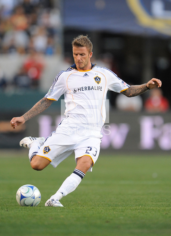 Los Angeles Galaxy's  David Beckham during game against AC Milan at the Home Depot Center. Los Angeles Galaxy tied AC Milan 2-2 Sunday, July 19. 2009, in Carson, California. Photo by Matt A. Brown/isiphotos.com.