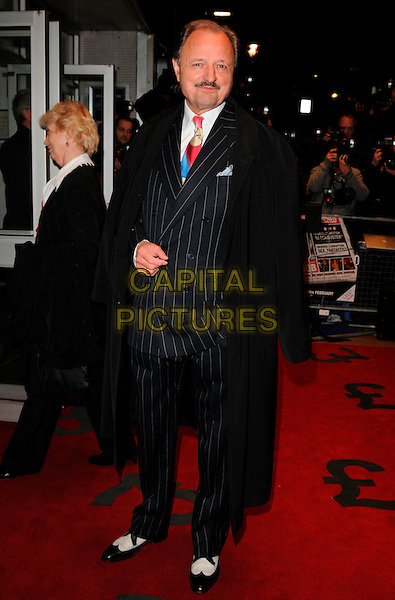 "PETER BOWLES.World Premiere of ""The Bank Job"" held at the Odeon West End cinema, Leicester Square, London, England, February 18th 2008..full length black pinstripe suit and white shies coat moustache.CAP/CAN.?Can Nguyen/Capital Pictures"
