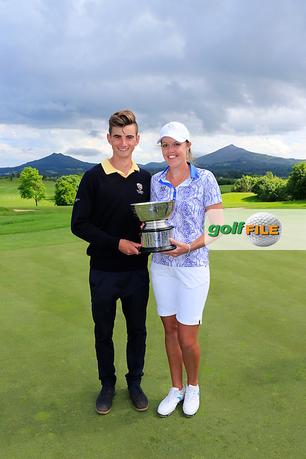 Megan MacLaren and Caddy after the Sunday Singles matches at the 2016 Curtis cup from Dun Laoghaire Golf Club, Ballyman Rd, Enniskerry, Co. Wicklow, Ireland. 12/06/2016.<br /> Picture Fran Caffrey / Golffile.ie<br /> <br /> All photo usage must carry mandatory copyright credit (&copy; Golffile | Fran Caffrey)