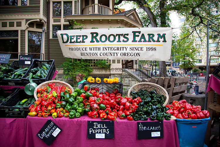 Deep Roots Farm at The Portland Farmers' Market in the South Park Blocks on Saturday mornings.