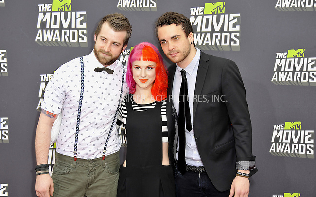 WWW.ACEPIXS.COM....April 14, 2013, Los Angeles, Ca.......Jeremy Davis, Hayley Williams and Taylor York arriving at the 2013 MTV Movie Awards at Sony Pictures Studios on April 14, 2013 in Culver City, California.......By Line: Peter West/ACE Pictures....ACE Pictures, Inc..Tel: 646 769 0430..Email: info@acepixs.com