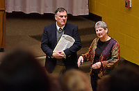 Dr. Robert Cooper and Dr. Susanne Taylor (DVM 1983), CVM 2014 Alumna of the Year. Dr. Taylor spoke to faculty and students about her practice in the Memphis area, Wolfchase Animal Hospital.