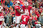 Wisconsin Badgers wide receiver Quintez Cephus (87) celebrates a touchdown with quarterback Alex Hornibrook (12) during an NCAA College Football Big Ten Conference game against the Purdue Boilermakers Saturday, October 14, 2017, in Madison, Wis. The Badgers won 17-9. (Photo by David Stluka)