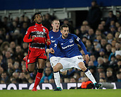 2nd December 2017, Goodison Park, Liverpool, England; EPL Premier League football, Everton versus Huddersfield Town; Gylfi Sigurdsson of Everton threads a pass from midfield as Kasey Palmer looks on