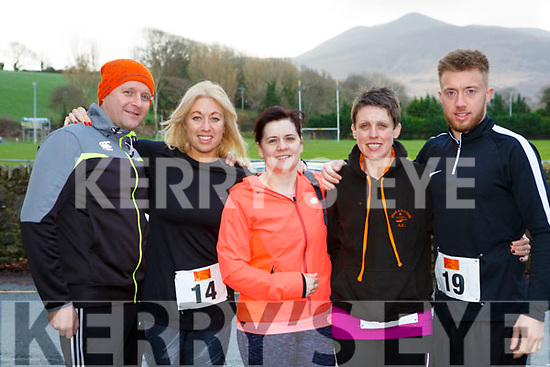 Damin Quigg, Victoria Gatford, Patricia Corbett, Anna Foley, Luke Gatford Killorglin who participated in the Beaufort 10k on New Years Day