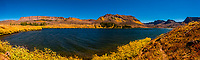 Panoramic view of Trappers Lake in the Flat Tops Wilderness (between Yampa and Meeker), Colorado USA. In 2002  the Big Fish Fire burned 17,056 acres in and near the Flat Tops Wilderness Area, including the land ringing Trappers Lake.