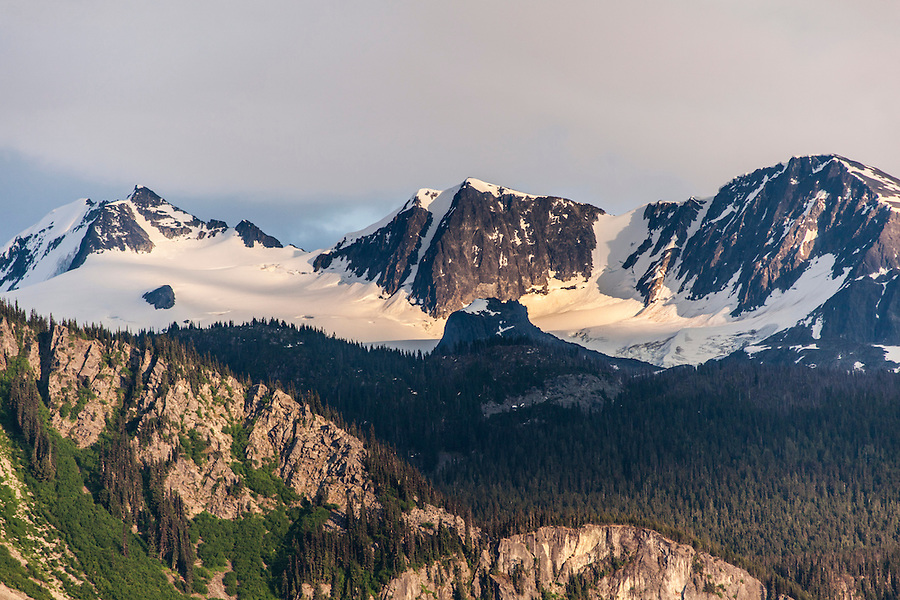 View of mountains near Pemberton and Whistler, British Colombia, Canada at sunset.