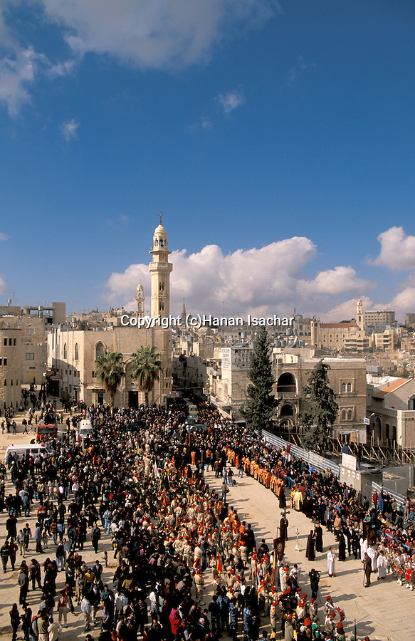 Bethlehem, the Greek Orthodox Christmas procession at Manger Square&#xA;<br />