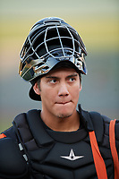 Aberdeen IronBirds catcher Alfredo Gonzalez (19) before a game against the Staten Island Yankees on August 23, 2018 at Leidos Field at Ripken Stadium in Aberdeen, Maryland.  Aberdeen defeated Staten Island 6-2.  (Mike Janes/Four Seam Images)