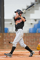 Michael Planeta #14 of the Bluefield Orioles follows through on his swing versus the Johnson City Cardinals at Howard Johnson Field August 1, 2009 in Johnson City, Tennessee. (Photo by Brian Westerholt / Four Seam Images)